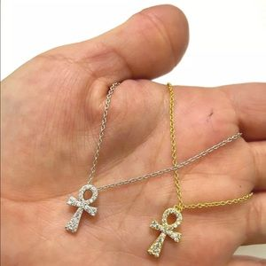 Jewelry - 925 Sterling Silver MICRO PAVE EGYPTIAN ANKH Neck.
